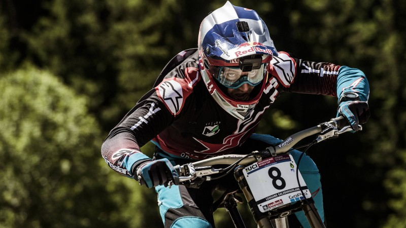On site with US mountain biker Aaron Gwin as he takes his third win in Leogang.