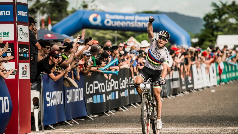 Best Action XCO1 Men of the UCI Mountain Bike World Cup in Cairns.